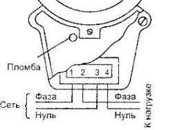 Схема подключения старого однотарифного счётчика