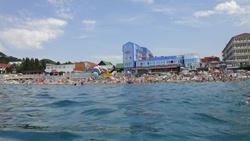 Ольгинка, пляж, вид с моря - увеличить