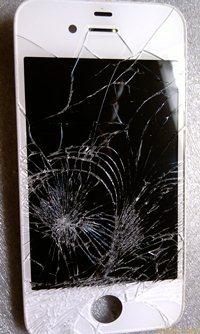 Битый экран айфона 4S - увеличить