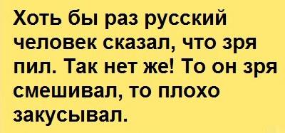 Хоть бы раз русский человек сказал, что зря пил...