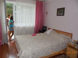 Зал нашей комнаты - новенький, громадный, с большой кроватью, чистый и светлый, с балконом с видом на море - увеличить