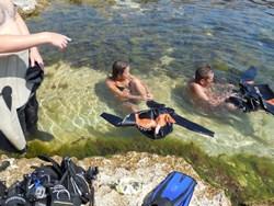 Костюмы легче снимать в воде. А они - такие тёплые! - как оказалось - увеличить